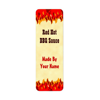 Red Flames Custom BBQ Sauce Canning Labels Small