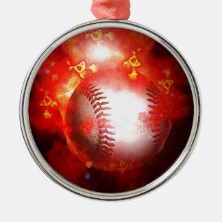 Red Flaming Baseball Christmas Tree Ornament