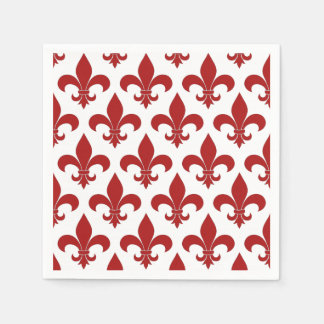 Red Fleur de lis French Symbol Disposable Napkin