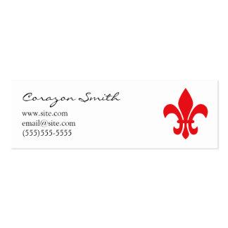 Red Fleur de Lis Skinny Business Card