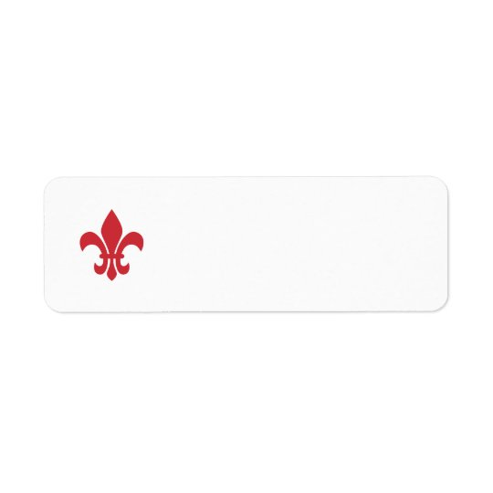 Red Fleur de Lys Return Address Label