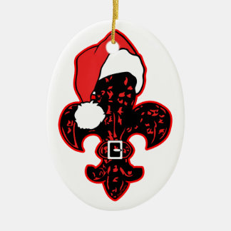 Red Fleur de Santa Ceramic Ornament