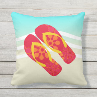 Red Flip Flops Beach Waves Throw Pillow