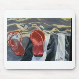Red Flip Flops Mouse Pad
