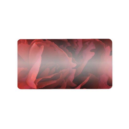 Red Floral Address Label