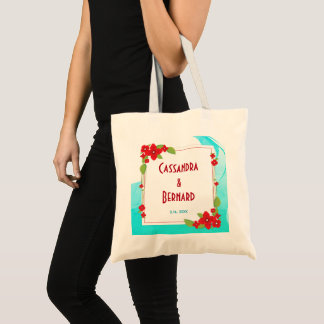 Red Floral and Blue Wedding | Basic Tote