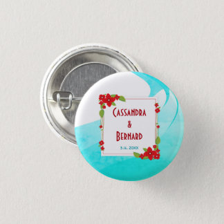 Red Floral and Blue Wedding | Button