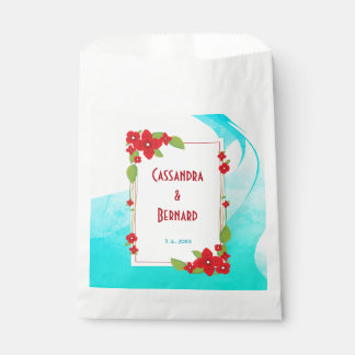 Red Floral and Blue Wedding | Favor Bags