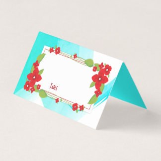 Red Floral and Blue Wedding | Place Card