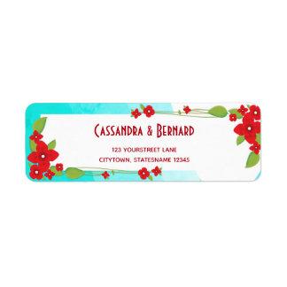 Red Floral and Blue Wedding | Return Address Label