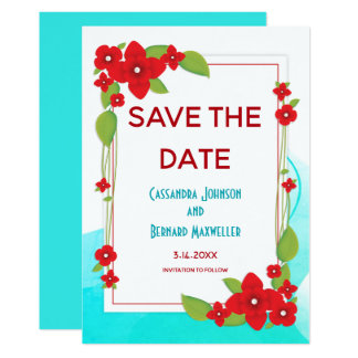 Red Floral and Blue Wedding | Save the Date Card