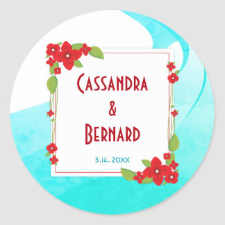 Red Floral and Blue Wedding | Sticker