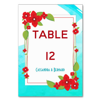 Red Floral and Blue Wedding | Table Card