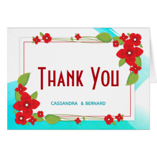 Red Floral and Blue Wedding | Thank You Card