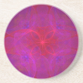 Red Floral and Purple Abstract Coasters