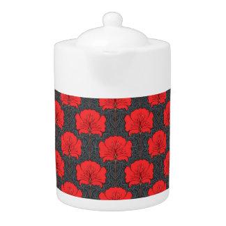 Red Floral Art Nouveau Porcelain Teapot