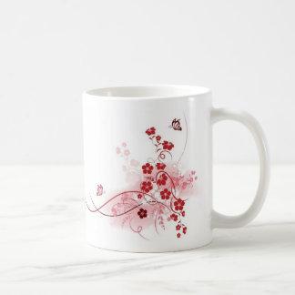 Red Floral Basic White Mug