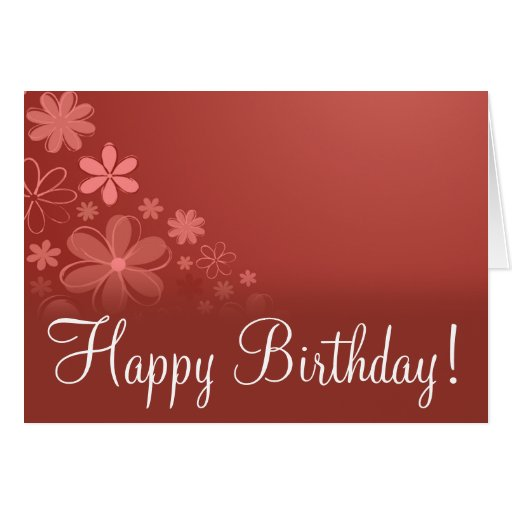 """Red Floral """"Birthday Card"""""""