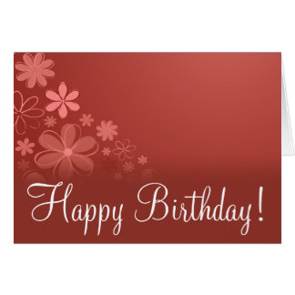 "Red Floral ""Birthday Card"" Greeting Card"