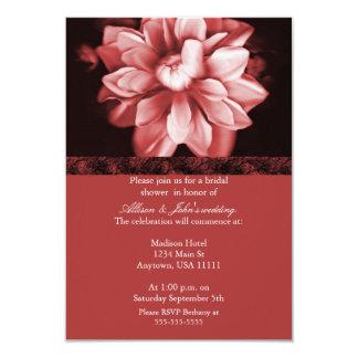 "Red Floral Bloom Bridal Shower Invitation 3.5"" X 5"" Invitation Card"