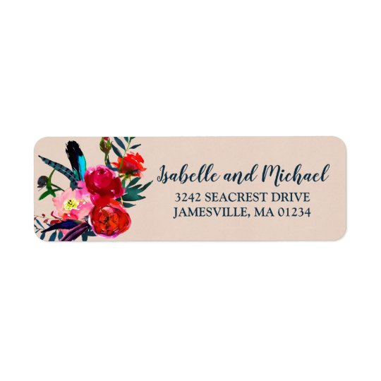 Red Floral & Blue Feathers Return Address Labels