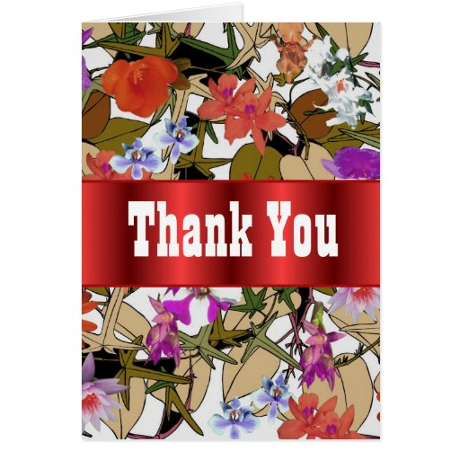 Red Floral bouquet thank you Greeting Cards
