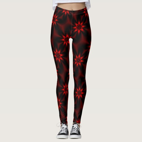 Red Floral Burst Leggings