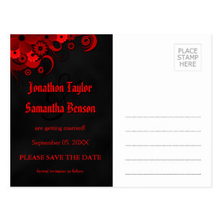 Red Floral Chalkboard Goth Save The Date Postcards