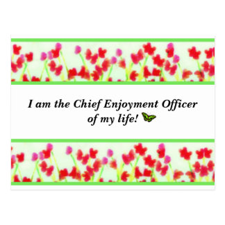 """Red Floral - """"Chief Enjoyment Officer of my life!"""" Postcard"""