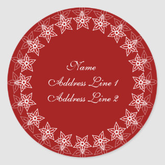 Red Floral Circle Address Labels Round Sticker