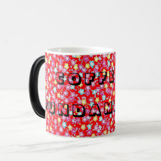 Red floral coffee fundamental in the morning magic mug