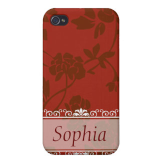 Red Floral Customizable  iPhone 4 Case