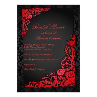 Red Floral Damask Bridal Shower Invitation