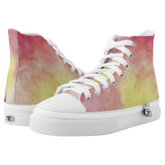 Red Floral Dream Hi Top Printed Shoes