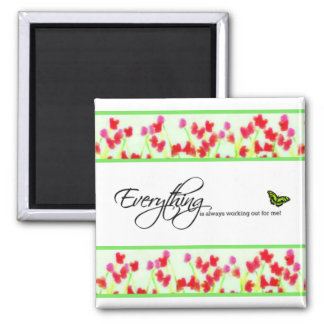 Red Floral - Everything is always working out Magnet
