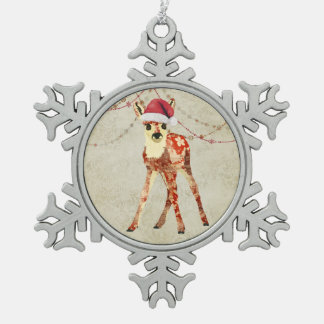 Red Floral Fawn Ornament