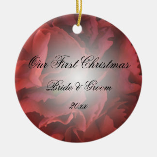 Red Floral First Christmas Together Ornament