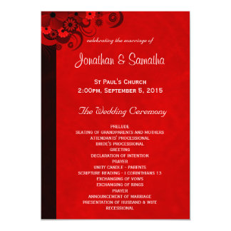 Red Floral Gothic Wedding Program Templates 13 Cm X 18 Cm Invitation Card