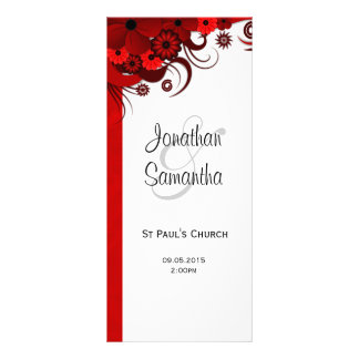 Red Floral Gothic Wedding Program Templates Customised Rack Card