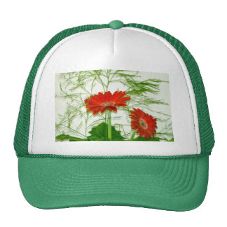 Red Floral Mesh Hat