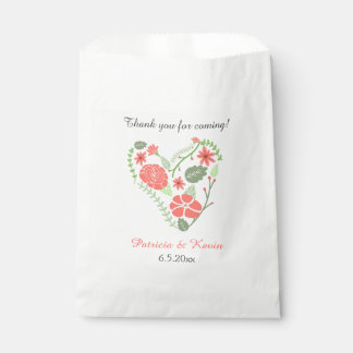 Red Floral Heart Wedding Favour Bags