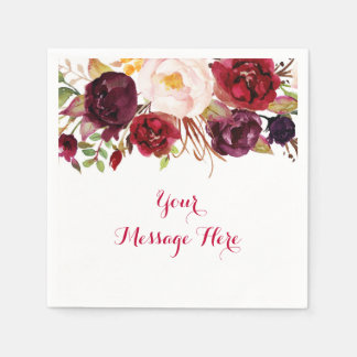 Red Floral Marsala Fall Bridal Shower Disposable Napkin