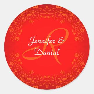 Red Floral Monogram Wedding Envelope Seal Round Sticker