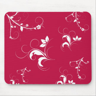 Red floral mouse pad