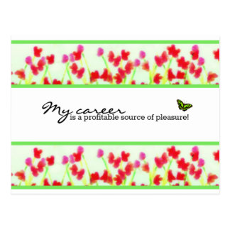 Red Floral - My career is a profitable source Postcard