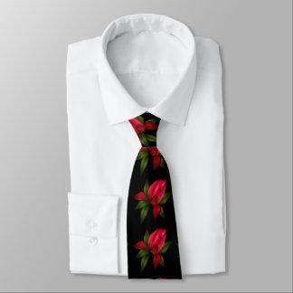 Red Floral On Black Tie