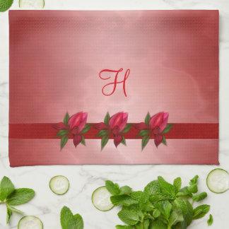 Red Floral on Red Monogram Tea Towel