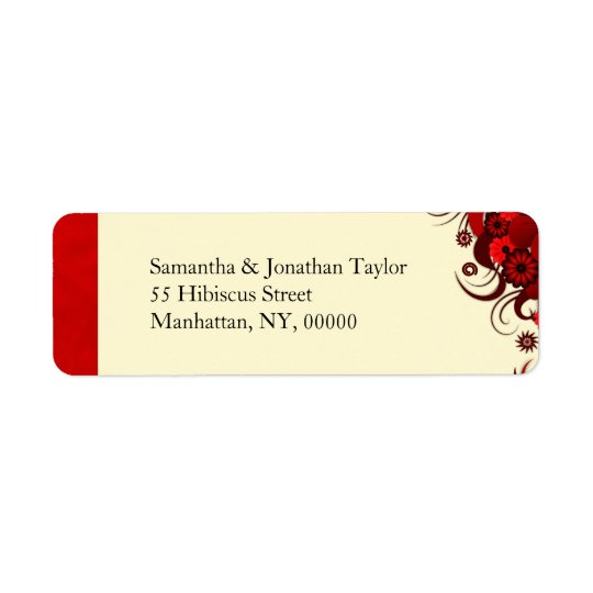 Red Floral on White Return Address Labels Favours