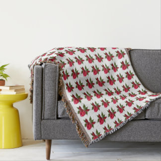 Red Floral on White Throw Blanket