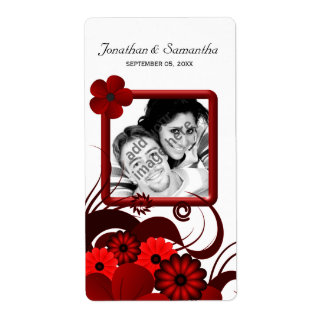 Red Floral on White Wedding Photo Favor Wine Label Shipping Label